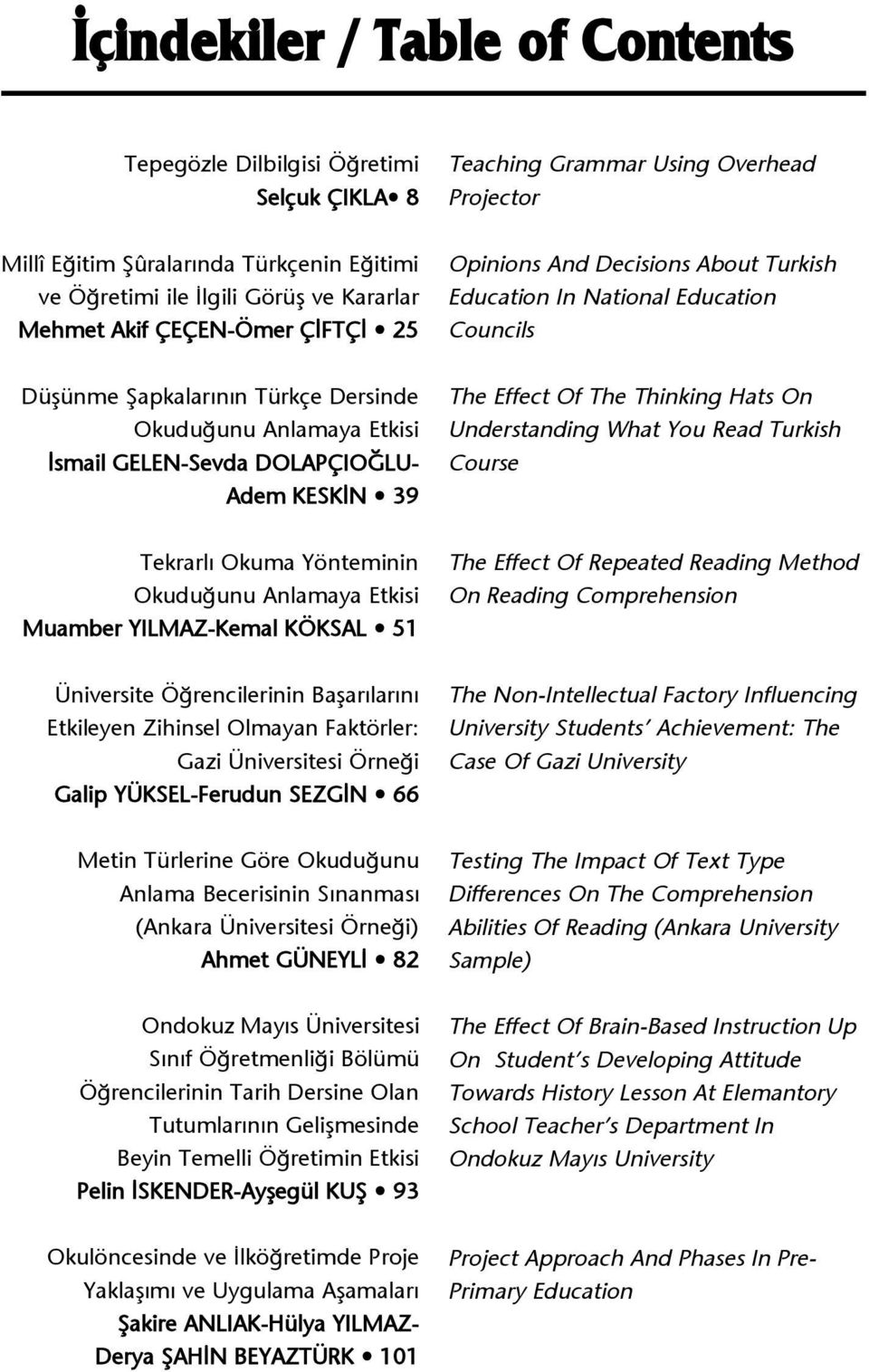 GELEN-Sevda DOLAPÇIO LU- Adem KESK N 39 The Effect Of The Thinking Hats On Understanding What You Read Turkish Course Tekrarl Okuma Yönteminin Okudu unu Anlamaya Etkisi Muamber YILMAZ-Kemal KÖKSAL 51