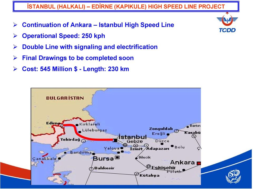 Speed: 250 kph Double Line with signaling and electrification
