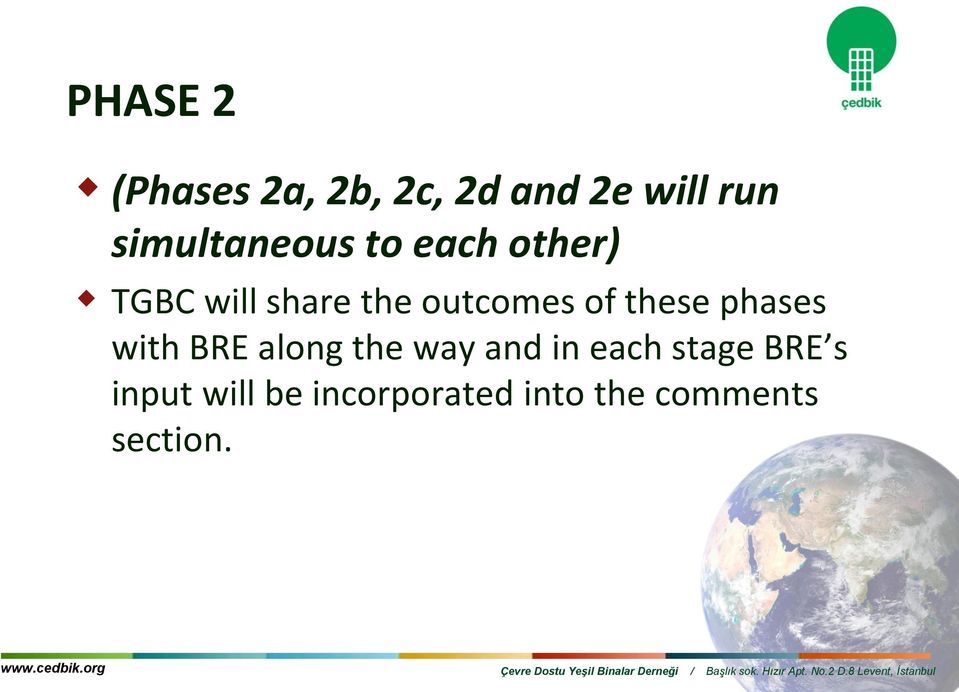 outcomes of these phases with BRE along the way and in