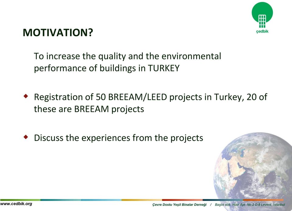 performance of buildings in TURKEY Registration of 50