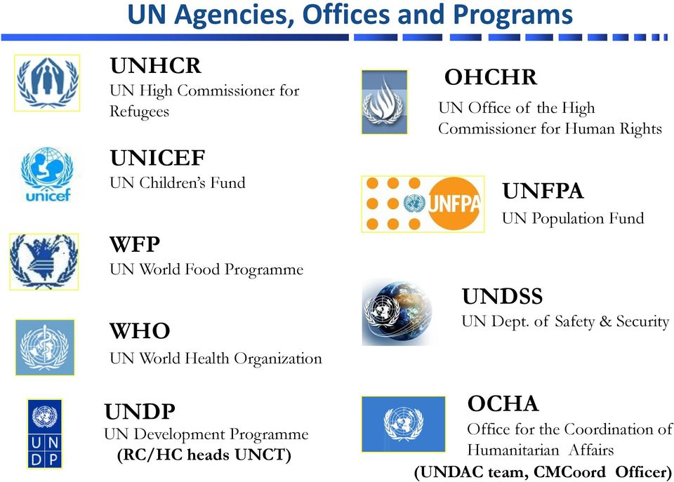 UNCT) OHCHR UN Office of the High Commissioner for Human Rights UNFPA UN Population Fund UNDSS UN Dept.