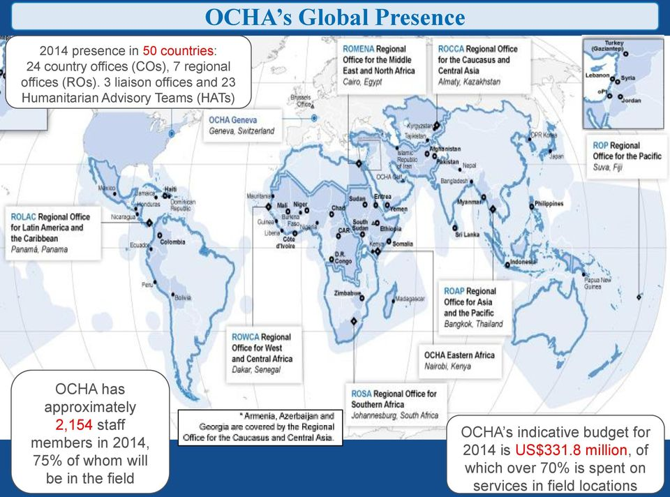 3 liaison offices and 23 Humanitarian Advisory Teams (HATs) OCHA has approximately 2,154