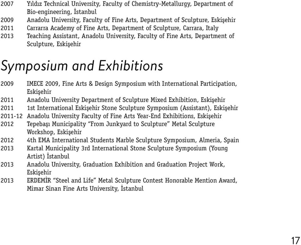2009 IMECE 2009, Fine Arts & Design Symposium with International Participation, Eskişehir 2011 Anadolu University Department of Sculpture Mixed Exhibition, Eskişehir 2011 1st International Eskişehir