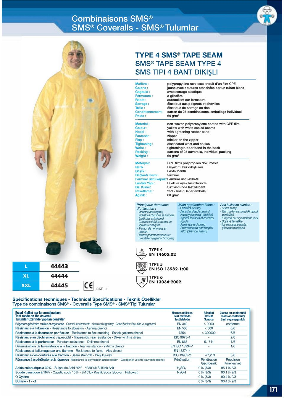 serrage au dos Conditionnement : carton de 25 combinaisons, emballage individuel Poids : 60 g/m 2 non-woven polypropylene coated with CPE film yellow with sealed seams Hood : with tightening rubber