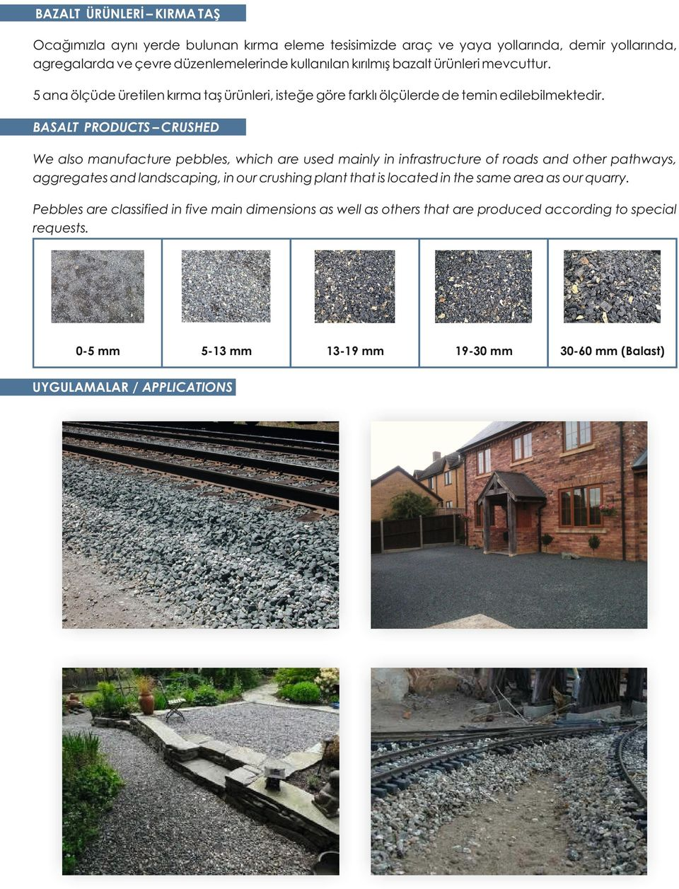 BASALT PRODUCTS CRUSHED We also manufacture pebbles, which are used mainly in infrastructure of roads and other pathways, aggregates and landscaping, in our crushing plant that is