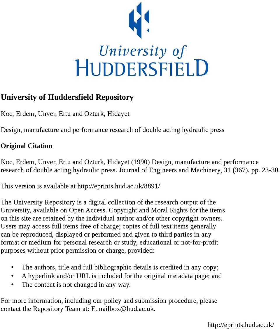 This version is available at http://eprints.hud.ac.uk/8891/ The University Repository is a digital collection of the research output of the University, available on Open Access.