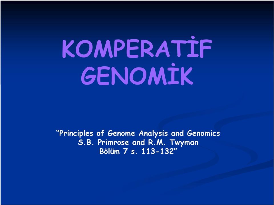 Analysis and Genomics S.B.