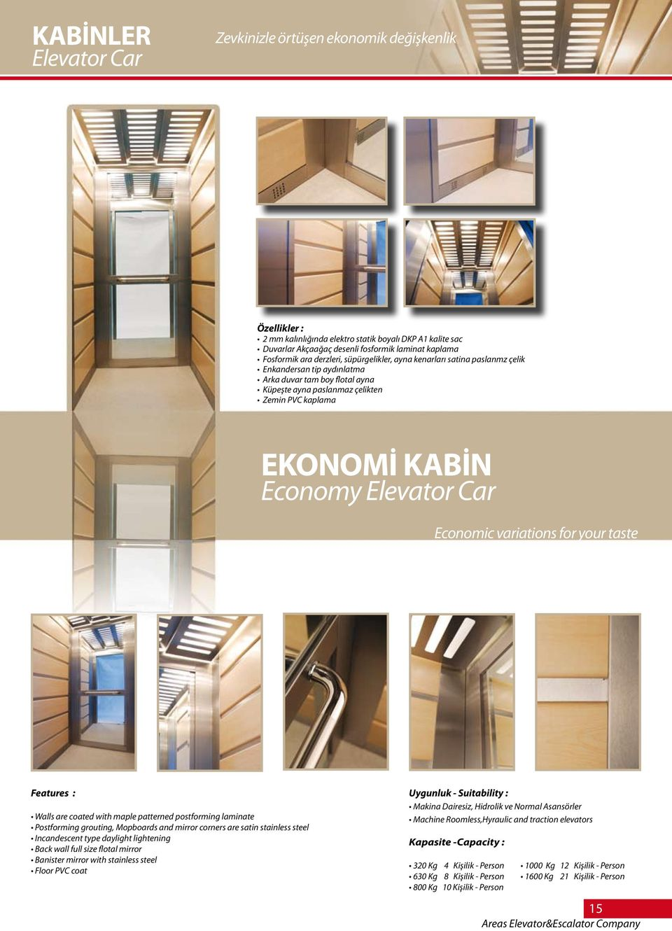 Elevator Car Economic variations for your taste Features : Walls are coated with maple patterned postforming laminate Postforming grouting, Mopboards and mirror corners are satin stainless steel