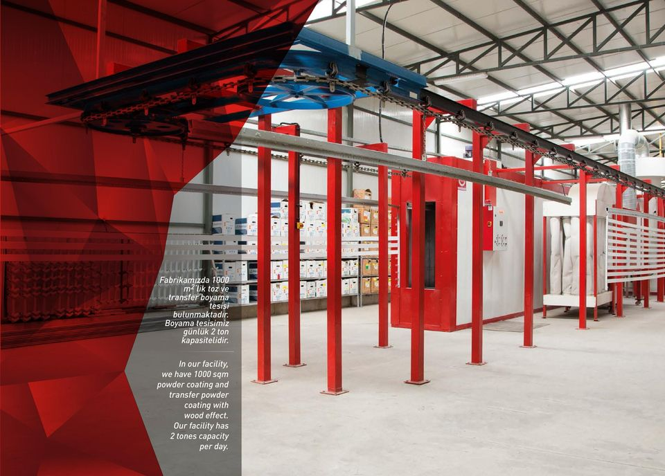 In our facility, we have 1000 sqm powder coating and transfer