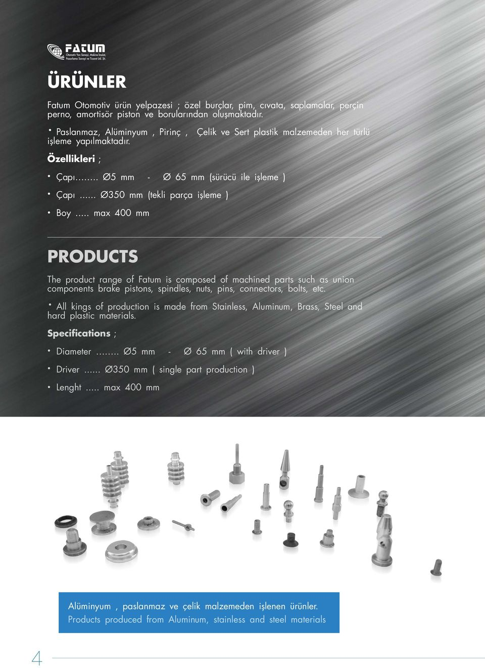 .. max 400 mm PRODUCTS The product range of Fatum is composed of machined parts such as union components brake pistons, spindles, nuts, pins, connectors, bolts, etc.