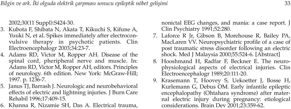 Disease of the spinal cord, pheripheral nerve and muscle. In: Adams RD, Victor M, Ropper AH, editors. Principles of neurology. 6th edition. New York: McGraw-Hill; 1997. p. 1236-7. 5.