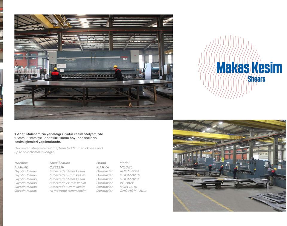 Machine Specification Brand Model MAKİNE ÖZELLİK MARKA MODEL Giyotin Makas 6 metrede 12mm kesim Durmazlar AHGM-6012 Giyotin Makas 3 metrede 14mm kesim