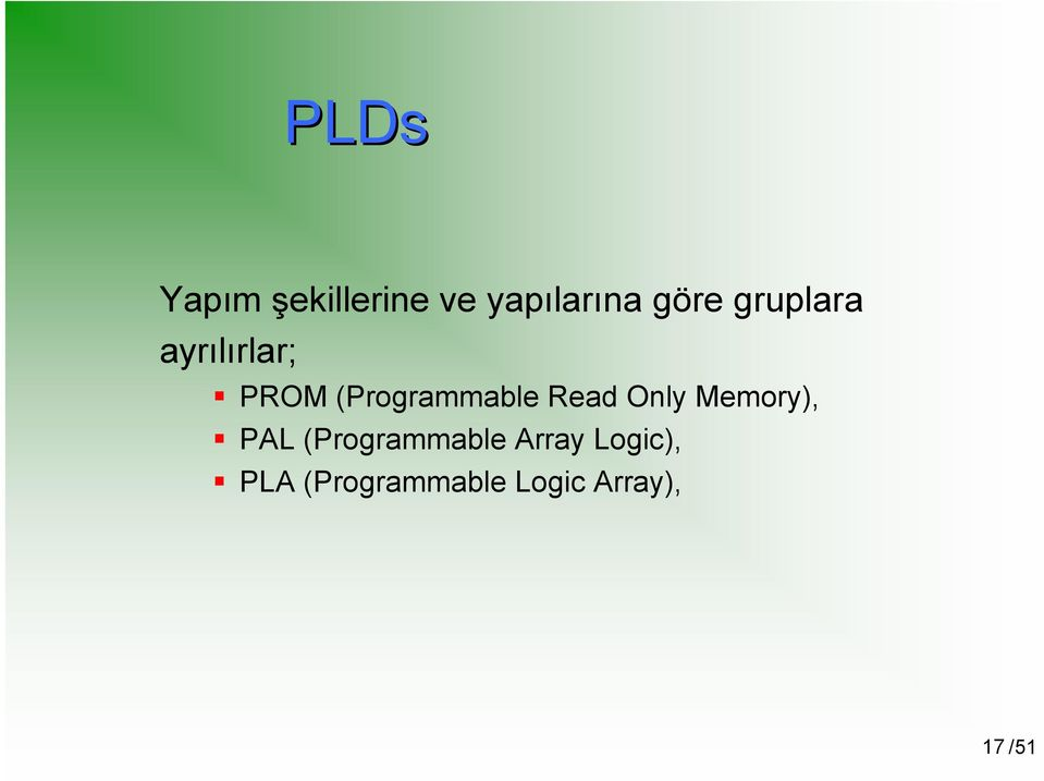 Read Only Memory), PAL (Programmable Array