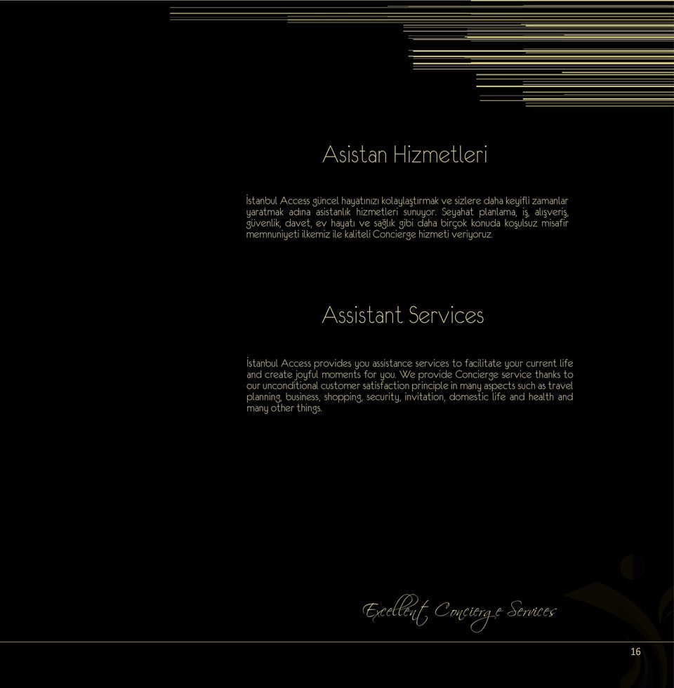 Assistant Services İstanbul Access provides you assistance services to facilitate your current life and create joyful moments for you.
