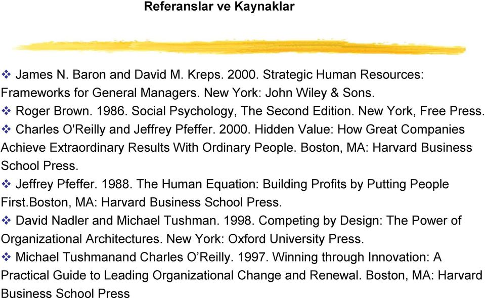 Boston, MA: Harvard Business School Press. Jeffrey Pfeffer. 1988. The Human Equation: Building Profits by Putting People First.Boston, MA: Harvard Business School Press. David Nadler and Michael Tushman.