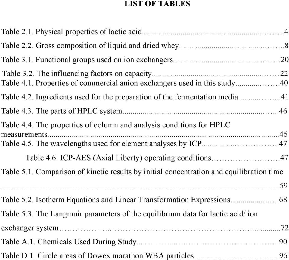 The parts of HPLC system......46 Table 4.4. The properties of column and analysis conditions for HPLC measurements...46 Table 4.5. The wavelengths used for element analyses by ICP.....47 Table 4.6. ICP-AES (Axial Liberty) operating conditions.