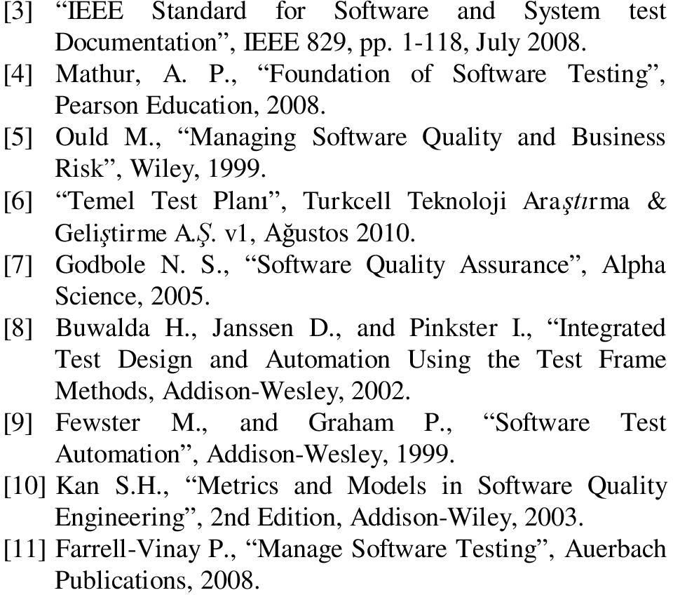 [8] Buwalda H., Janssen D., and Pinkster I., Integrated Test Design and Automation Using the Test Frame Methods, Addison-Wesley, 2002. [9] Fewster M., and Graham P.