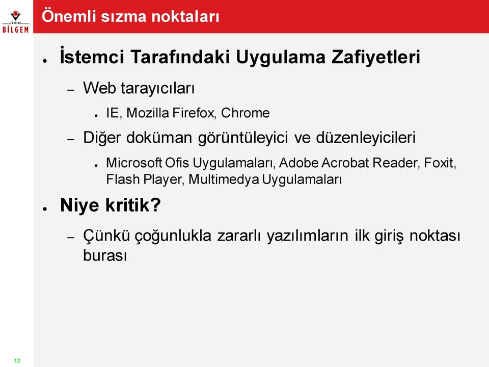 Microsoft Ofis Uygulamaları, Adobe Acrobat Reader, Foxit, Flash Player, Multimedya