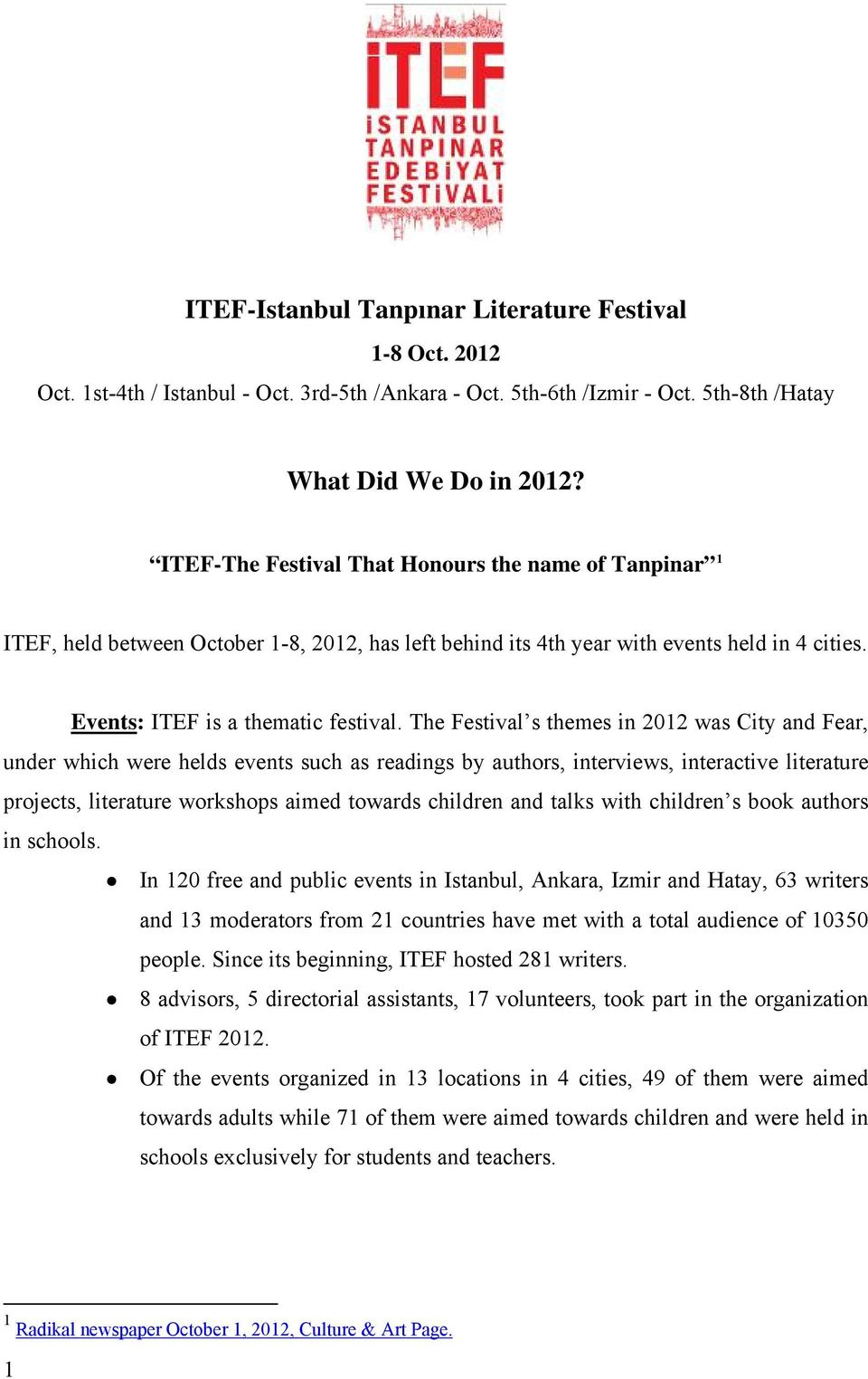 The Festival s themes in 2012 was City and Fear, under which were helds events such as readings by authors, interviews, interactive literature projects, literature workshops aimed towards children