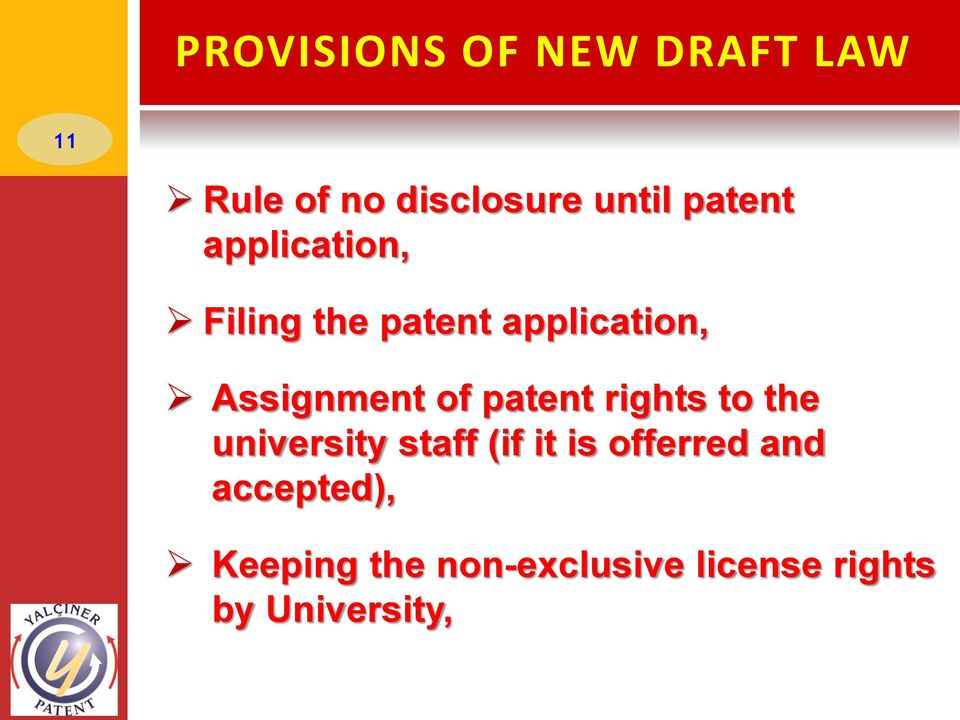 of patent rights to the university staff (if it is offerred