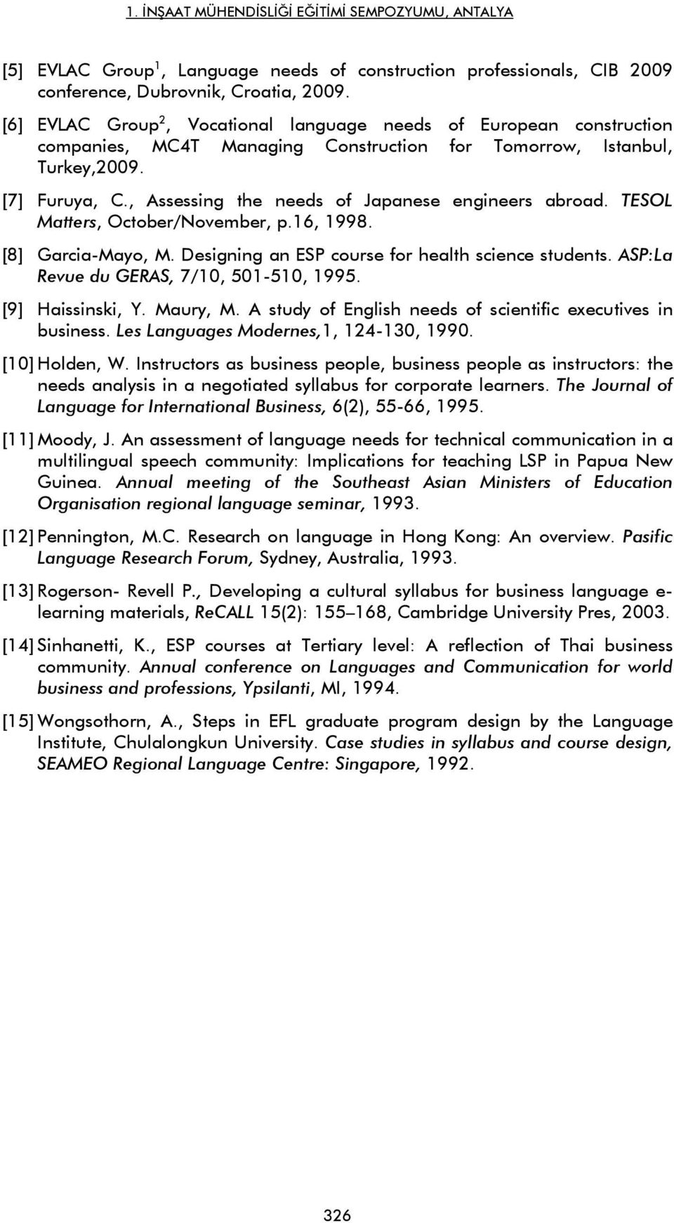 , Assessing the needs of Japanese engineers abroad. TESOL Matters, October/November, p.16, 1998. [8] Garcia-Mayo, M. Designing an ESP course for health science students.