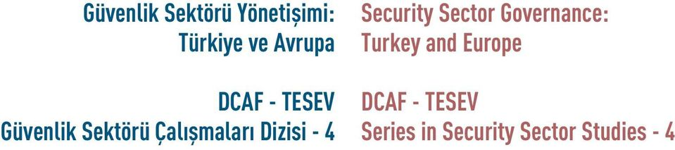 - 4 Security Sector Governance: Turkey and Europe
