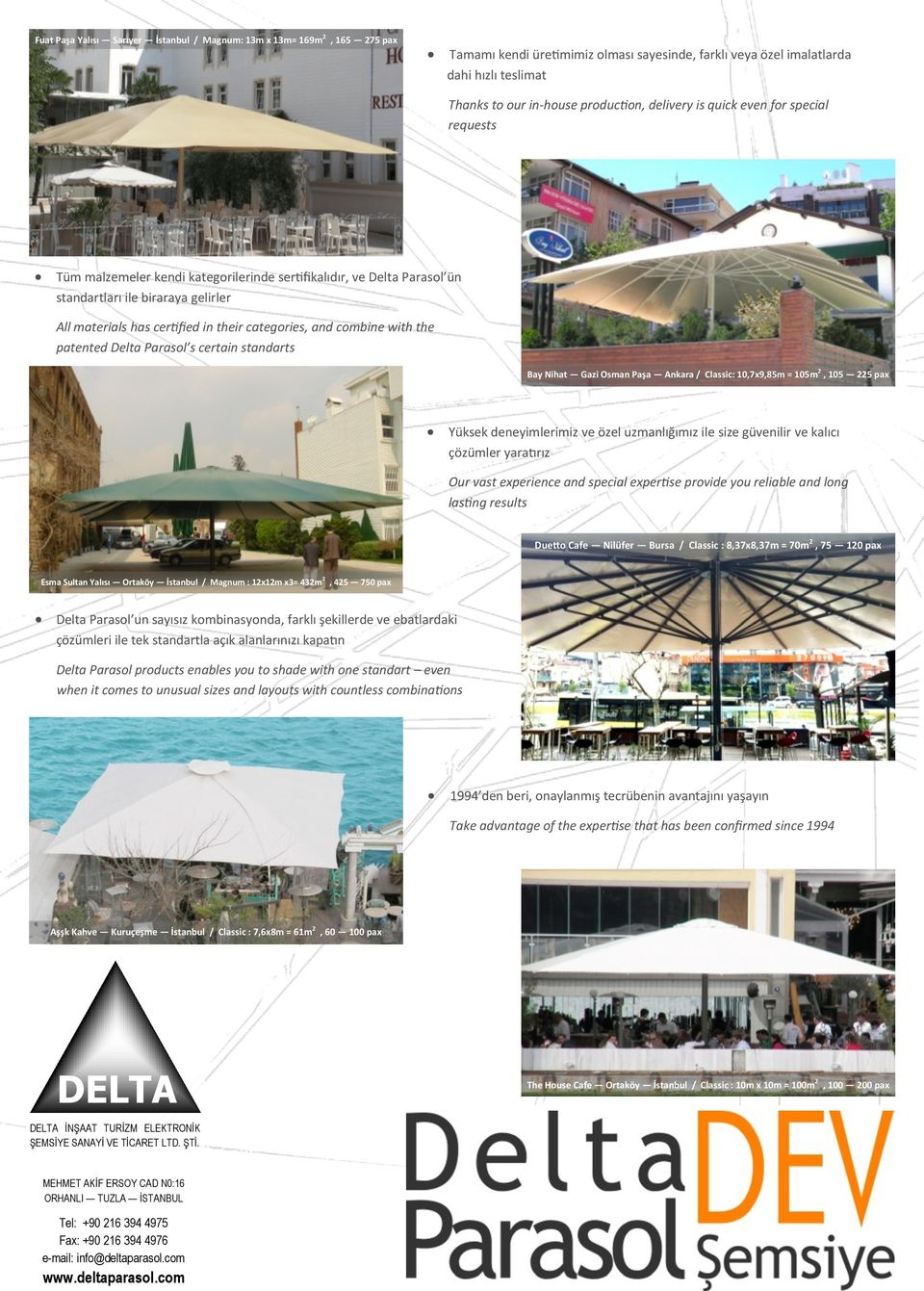their categories, and combine with the patented Delta Parasol s certain standarts Bay Nihat Gazi Osman Paşa Ankara / Classic: 10,7x9,85m = 105m 2, 105 225 pax Yüksek deneyimlerimiz ve özel