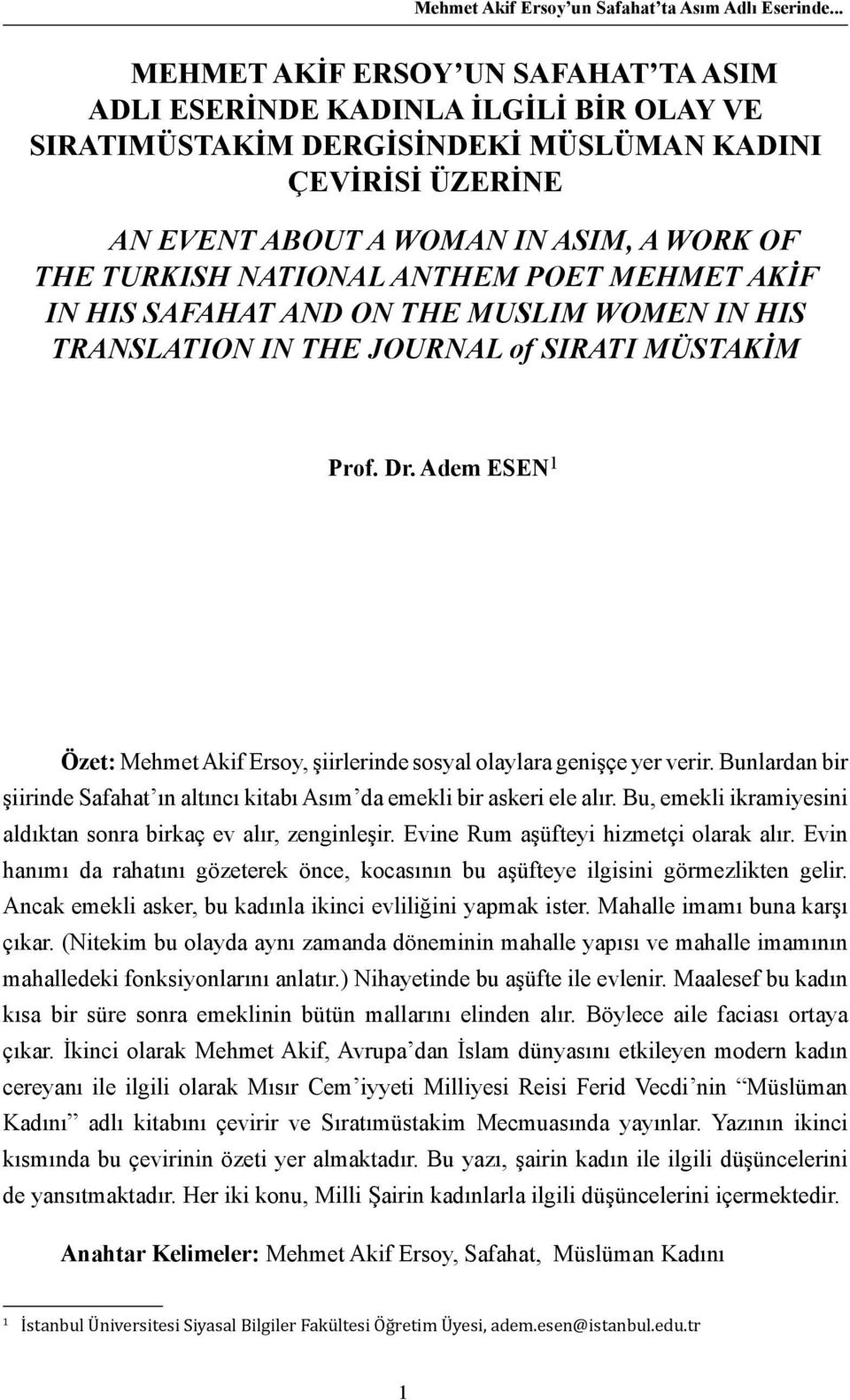 NATIONAL ANTHEM POET MEHMET AKİF IN HIS SAFAHAT AND ON THE MUSLIM WOMEN IN HIS TRANSLATION IN THE JOURNAL of SIRATI MÜSTAKİM Prof. Dr.