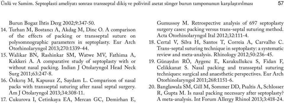 Walikar BN, Rashinkar SM, Watwe MV, Fathima A, Kakkeri A. A comparative study of septoplasty with or without nasal packing. Indian J Otolaryngol Head Neck Surg 2011;63:247-8. 16.