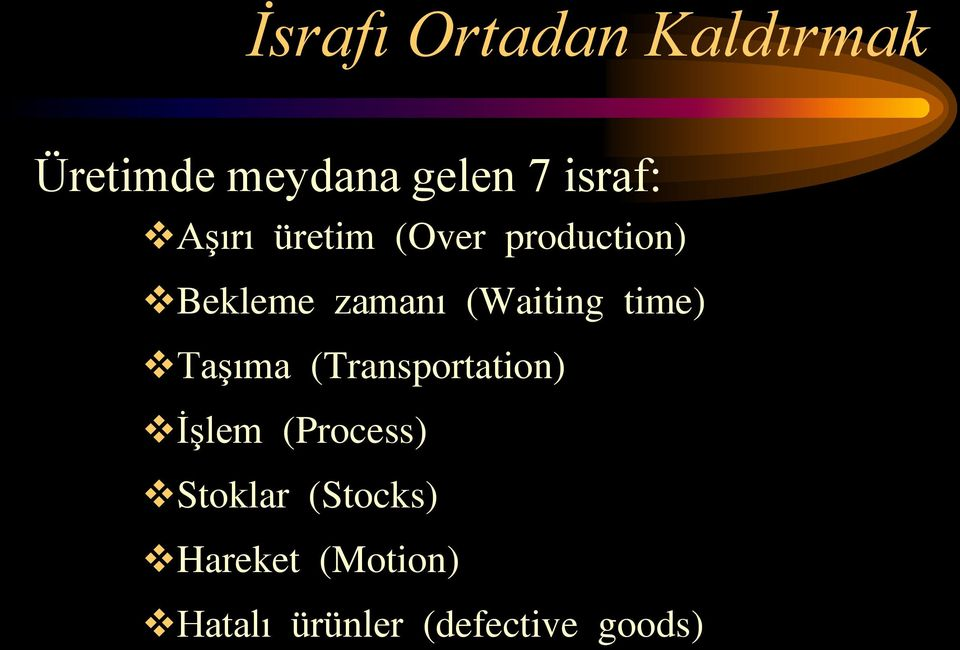 (Waiting time) Taşıma (Transportation) İşlem (Process)