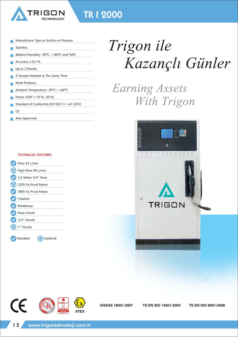 Günler Earning Assets With Trigon Atex Approved TECHNICAL FEATURES Flow 45 L/min High Flow 90 L/min 3,5 Meter 3/4 Hose 220V Ex-Proof Motor 380V Ex-Proof Motor