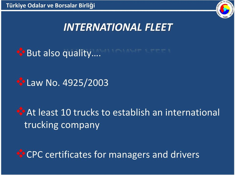 establish an international trucking