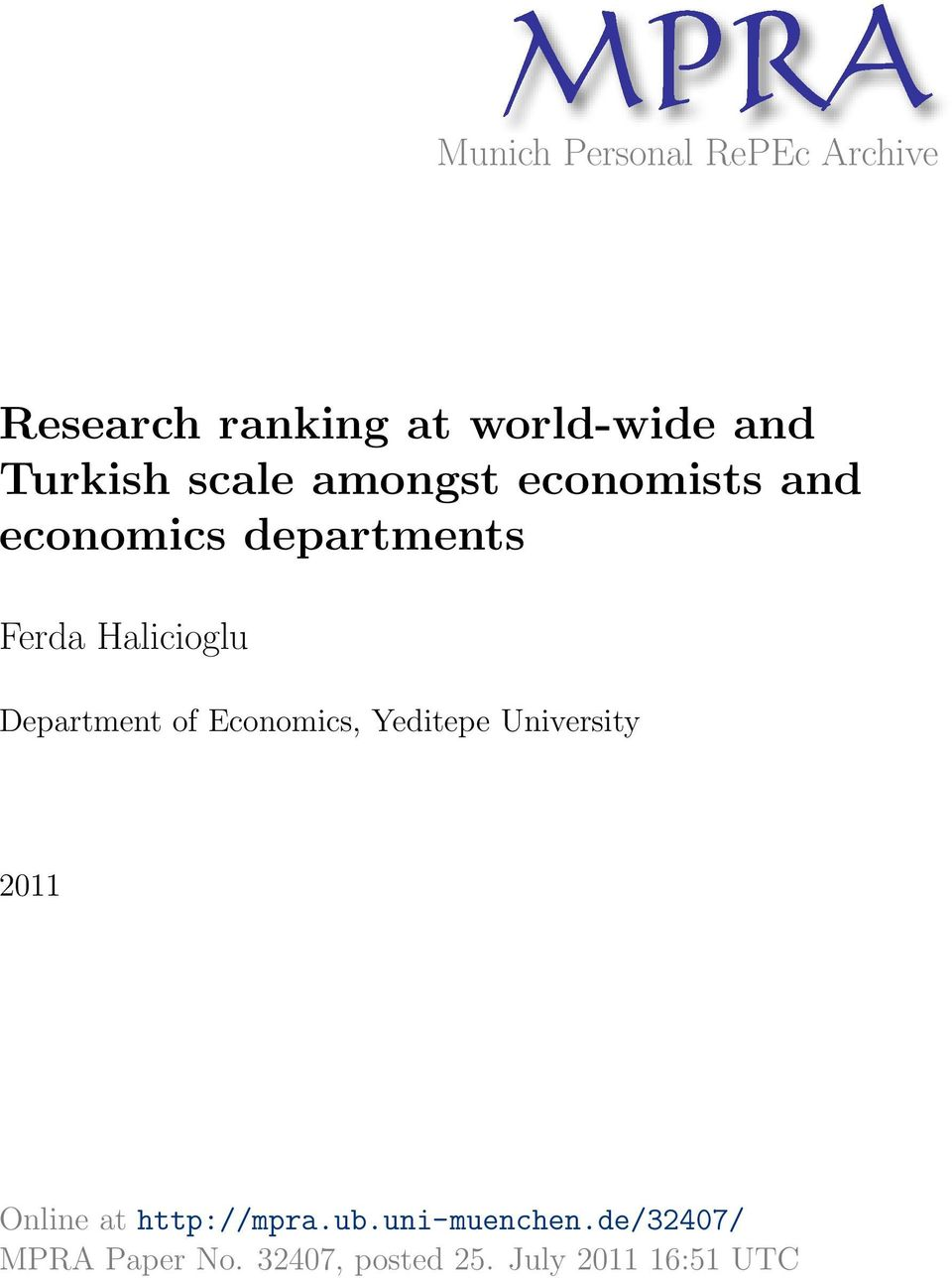 Halicioglu Department of Economics, Yeditepe University 2011 Online at