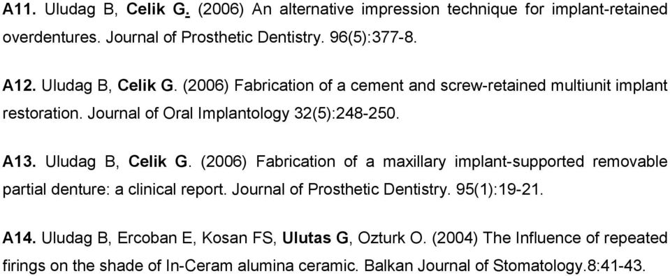 Uludag B, Celik G. (2006) Fabrication of a maxillary implant-supported removable partial denture: a clinical report. Journal of Prosthetic Dentistry.