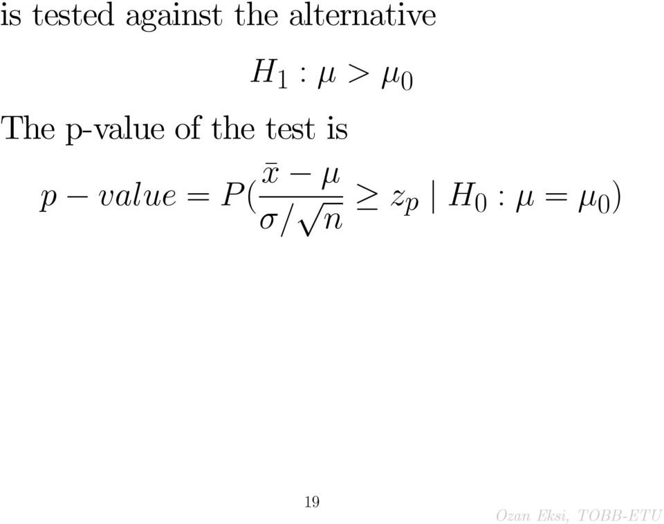 p-value of the test is p
