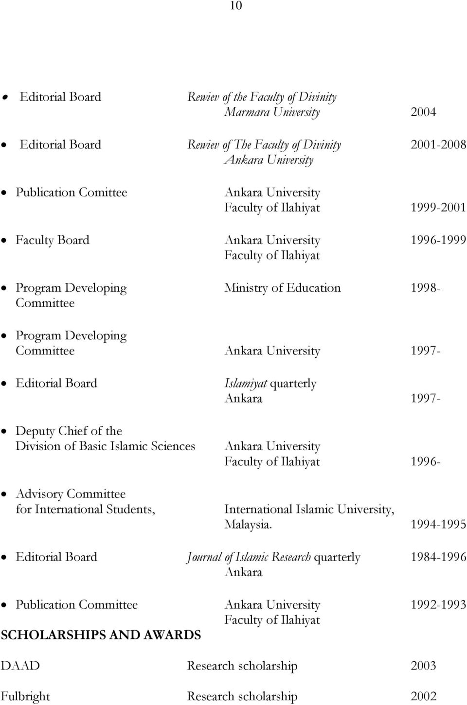 1997- Editorial Board Deputy Chief of the Division of Basic Islamic Sciences Advisory Committee for International Students, Islamiyat quarterly Ankara 1997- Ankara University Faculty of Ilahiyat