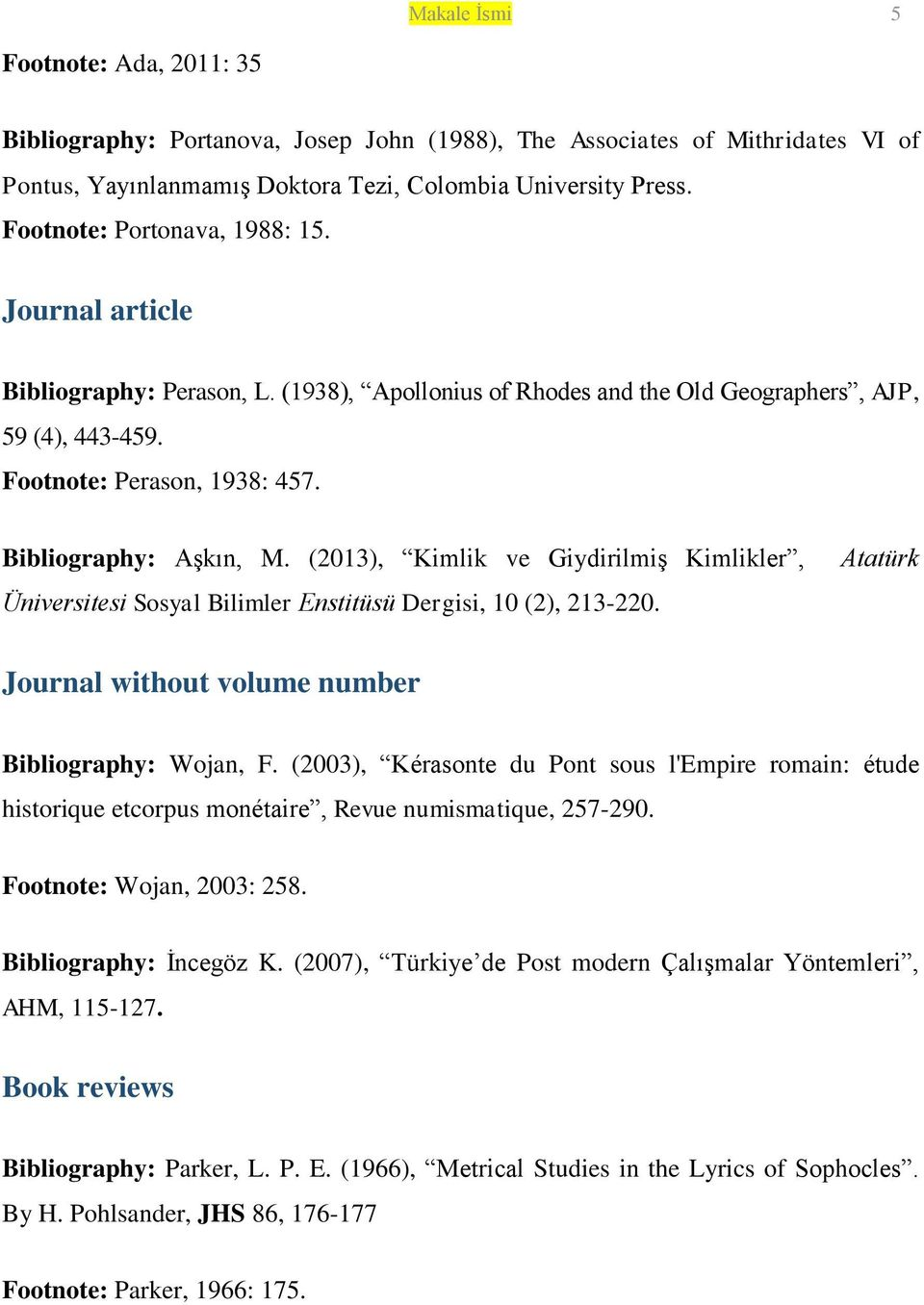 Bibliography: Aşkın, M. (2013), Kimlik ve Giydirilmiş Kimlikler, Üniversitesi Sosyal Bilimler Enstitüsü Dergisi, 10 (2), 213-220. Atatürk Journal without volume number Bibliography: Wojan, F.