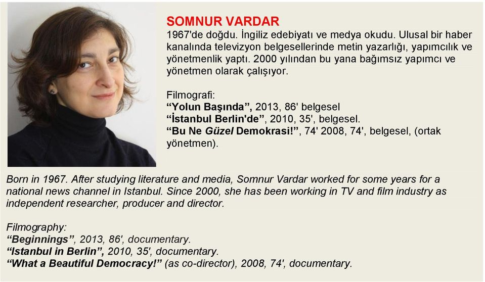 , 74' 2008, 74', belgesel, (ortak yönetmen). Born in 1967. After studying literature and media, Somnur Vardar worked for some years for a national news channel in Istanbul.