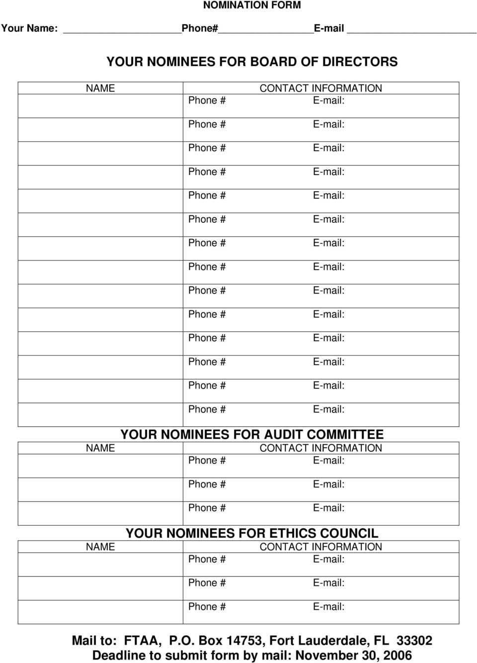 INFORMATION NAME YOUR NOMINEES FOR ETHICS COUNCIL CONTACT INFORMATION Mail to: