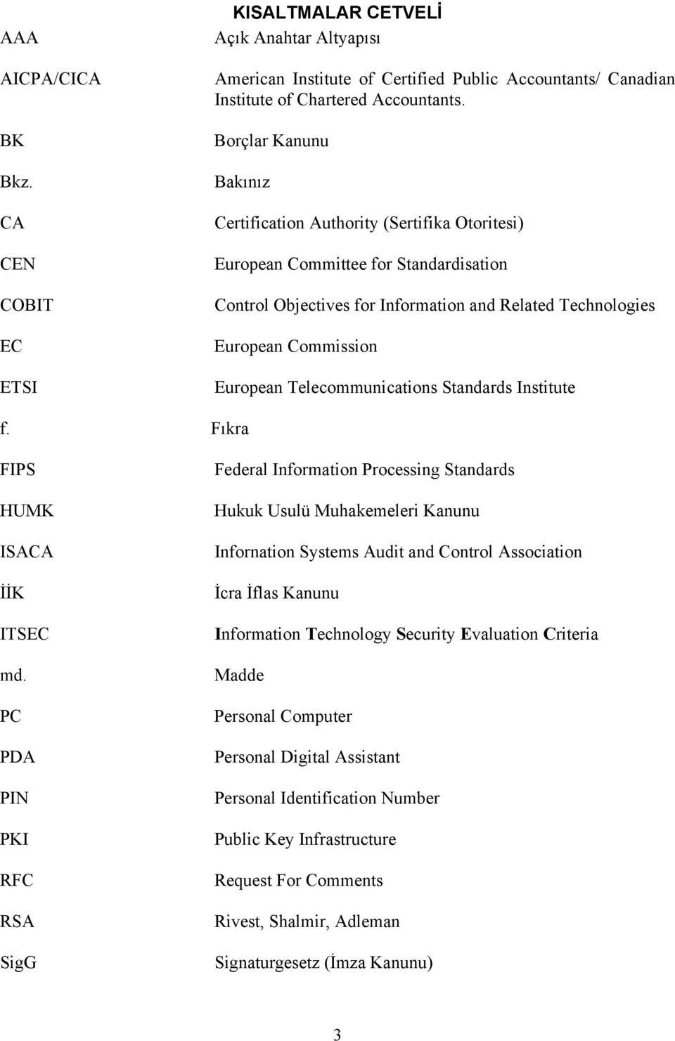 Telecommunications Standards Institute f. Fıkra FIPS HUMK ISACA İİK ITSEC md.