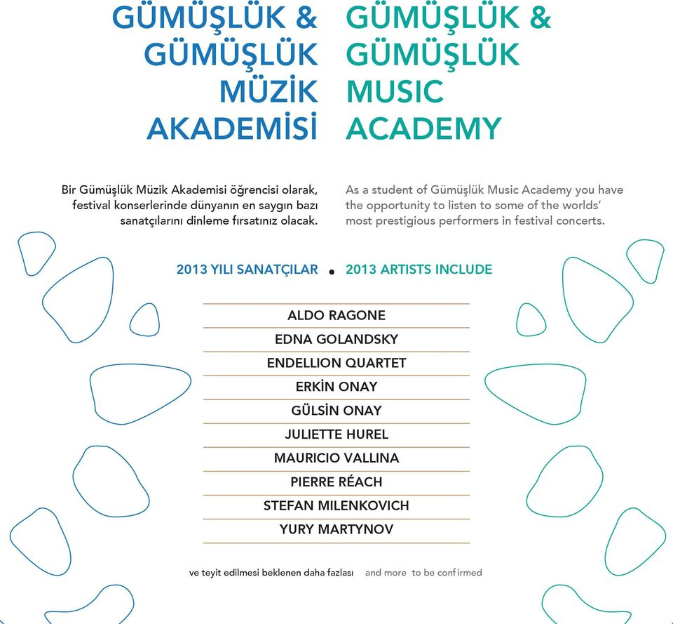 As a student of Gümüşlük Music Academy you have the opportunity to listen to some of the worlds most prestigious performers in festival concerts.