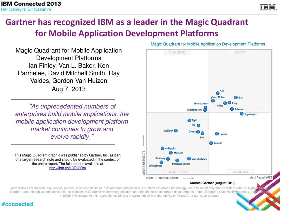 market continues to grow and evolve rapidly. Magic Quadrant for Mobile Application Development Platforms This Magic Quadrant graphic was published by Gartner, Inc.