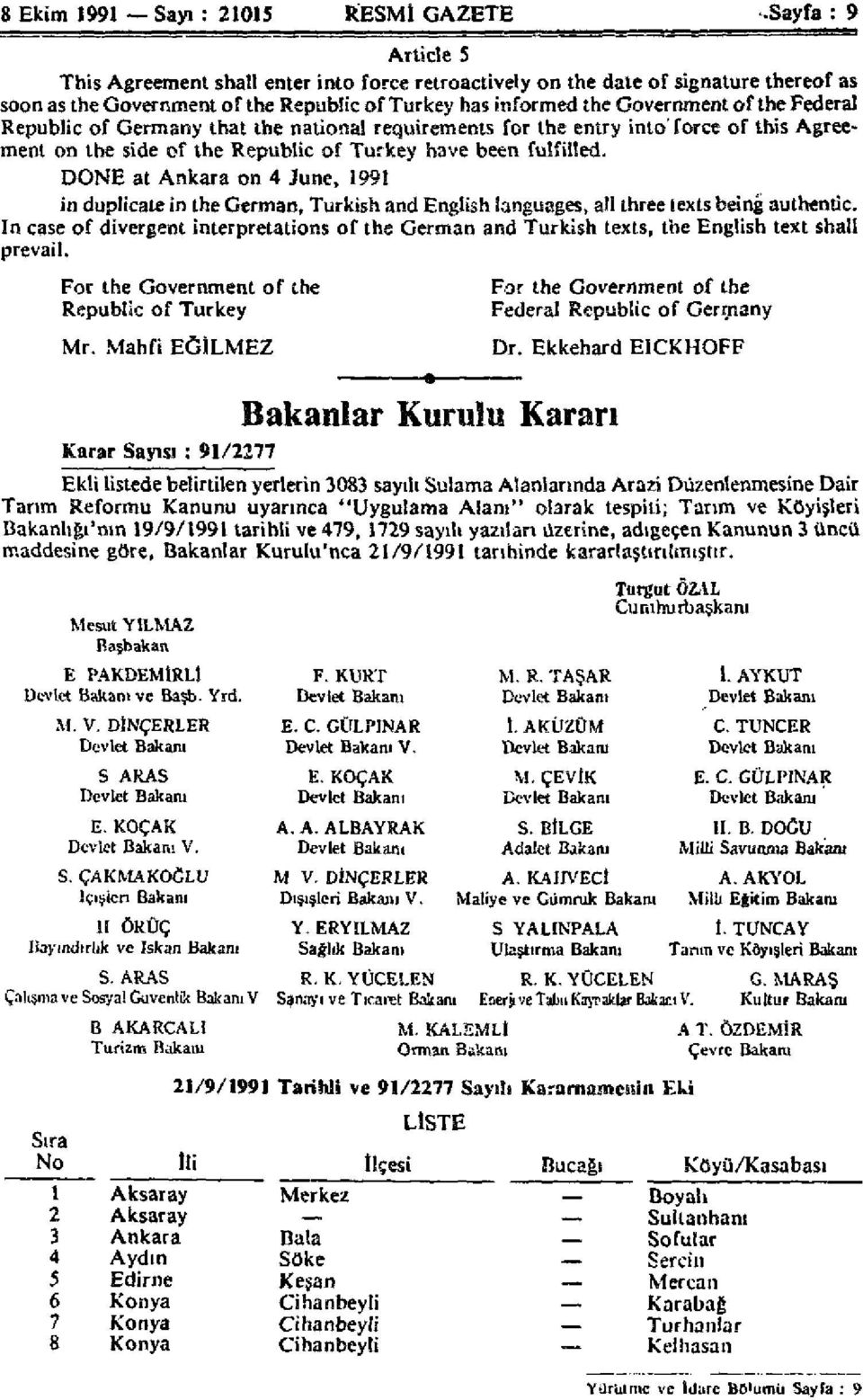 DONE at Ankara on 4 June, 1991 in duplicate in the German, Turkish and English languages, all three texts being authentic.
