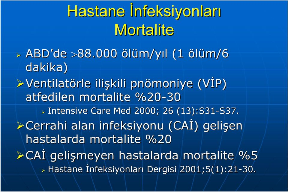 mortalite %20-30 Intensive Care Med 2000; 26 (13):S31-S37. S37.