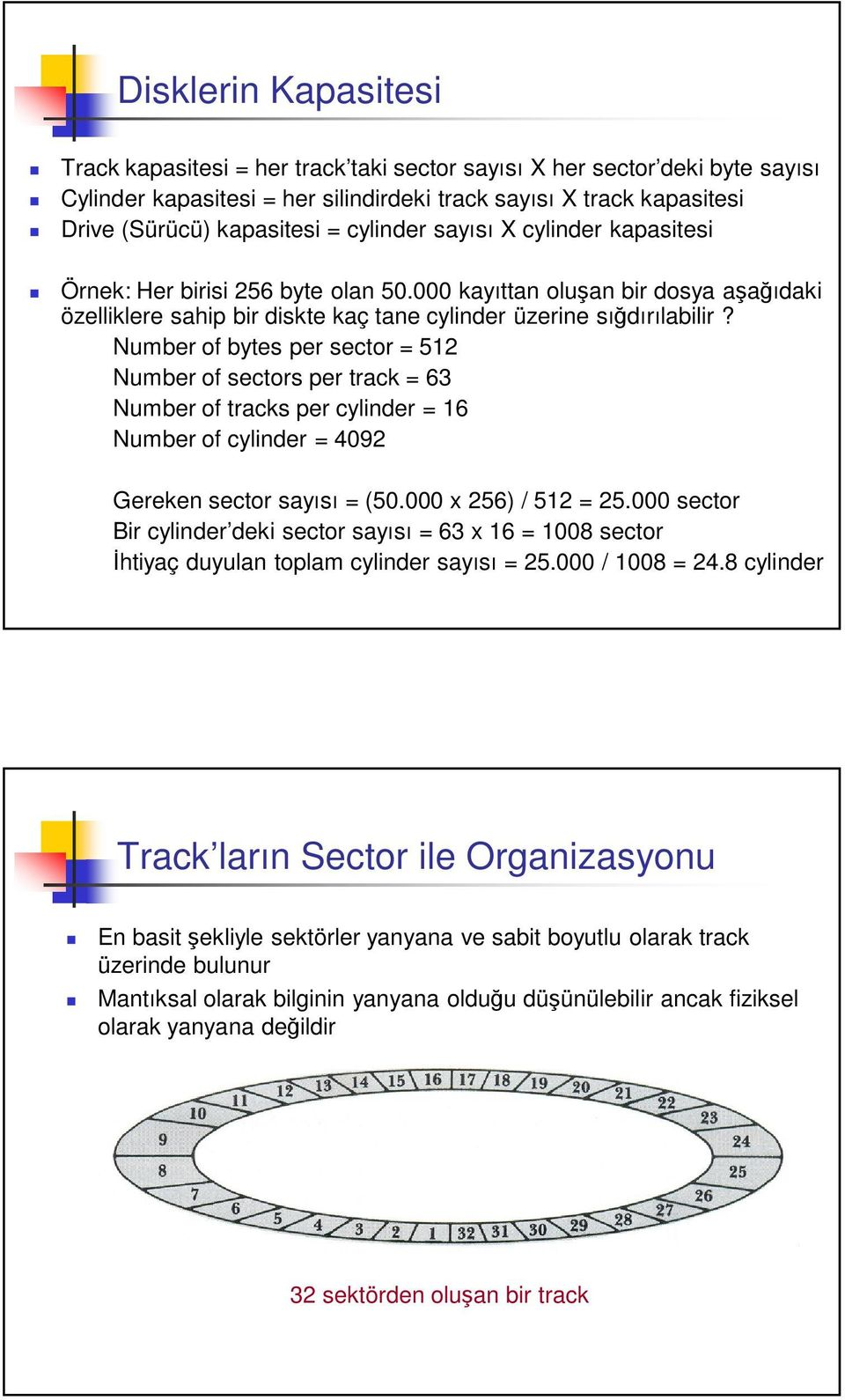 Number of bytes per sector = 512 Number of sectors per track = 63 Number of tracks per cylinder = 16 Number of cylinder = 4092 Gereken sector sayısı = (50.000 x 256) / 512 = 25.