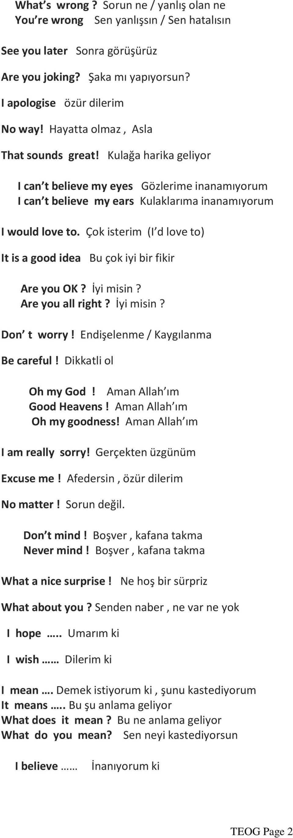 Çok isterim (I d love to) It is a good idea Bu çok iyi bir fikir Are you OK? İyi misin? Are you all right? İyi misin? Don t worry! Endişelenme / Kaygılanma Be careful! Dikkatli ol Oh my God!