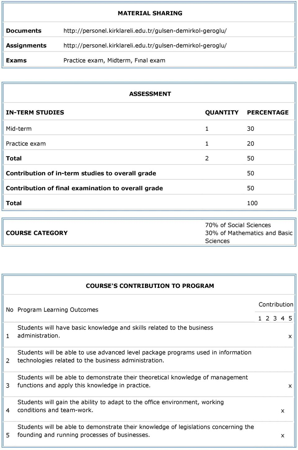 tr/gulsen-demirkol-geroglu/ Practice eam, Midterm, Fınal eam ASSESSMENT IN-TERM STUDIES QUANTITY PERCENTAGE Mid-term 1 30 Practice eam 1 20 Total 2 50 Contribution of in-term studies to overall grade