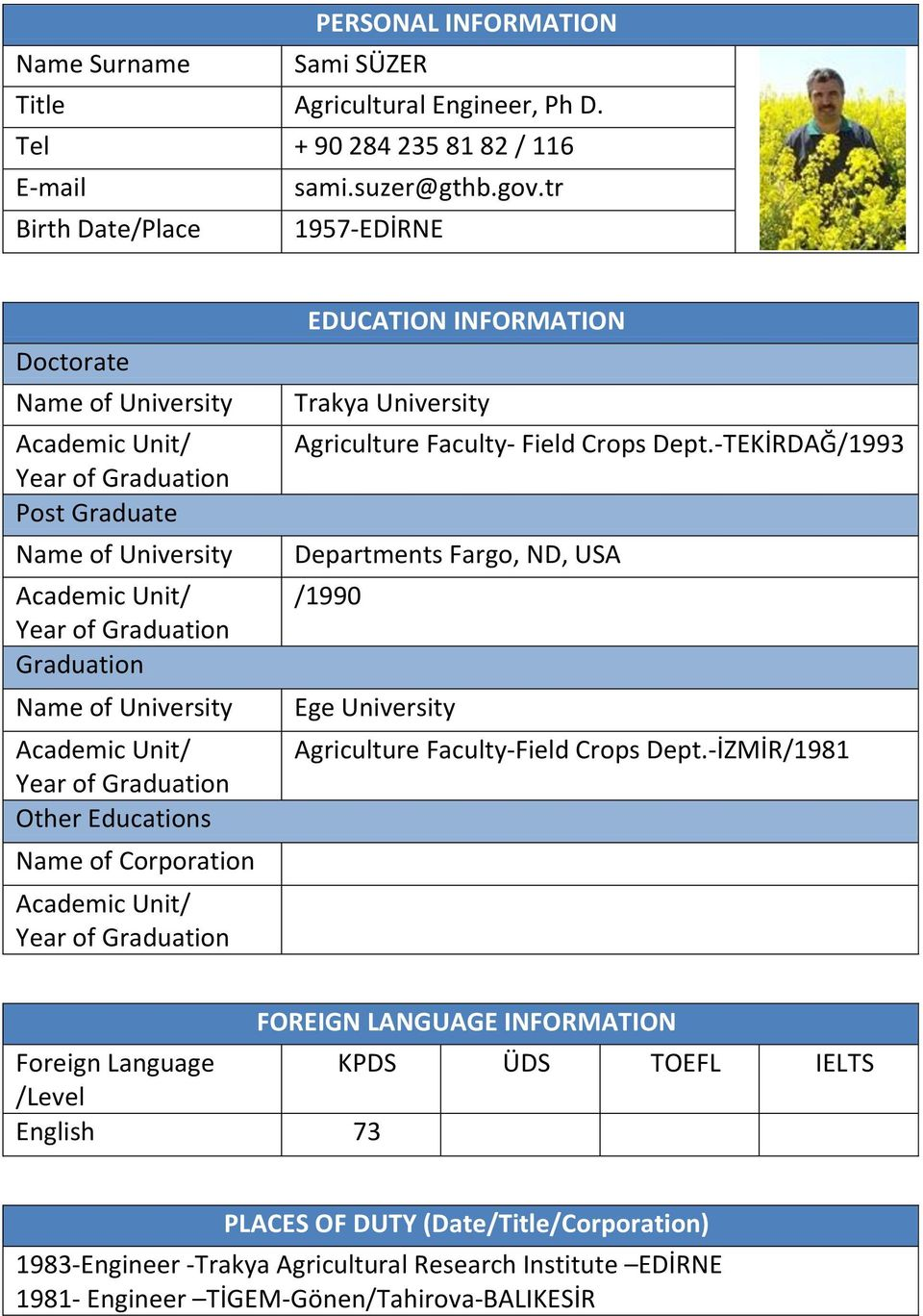 Academic Unit/ Year of Graduation Other Educations Name of Corporation Academic Unit/ Year of Graduation EDUCATION INFORMATION Trakya University Agriculture Faculty- Field Crops Dept.
