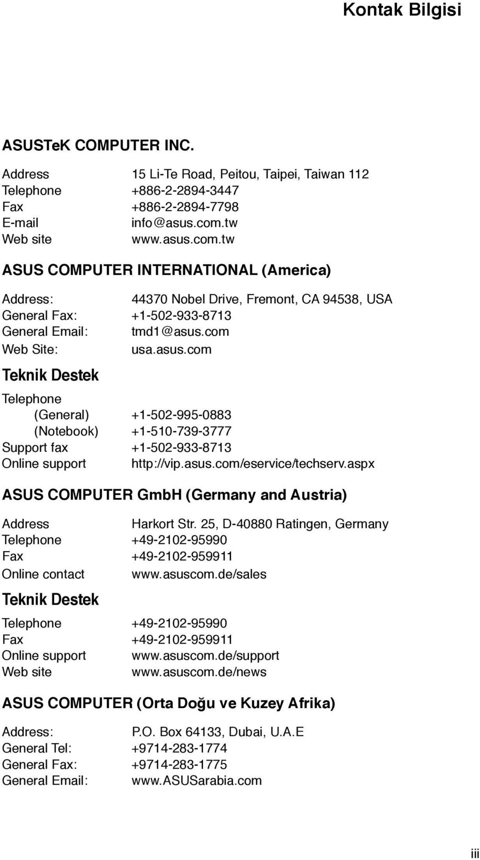 asus.com/eservice/techserv.aspx ASUS COMPUTER GmbH (Germany and Austria) Address Harkort Str. 25, D-40880 Ratingen, Germany Telephone +49-2102-95990 Fax +49-2102-959911 Online contact www.asuscom.