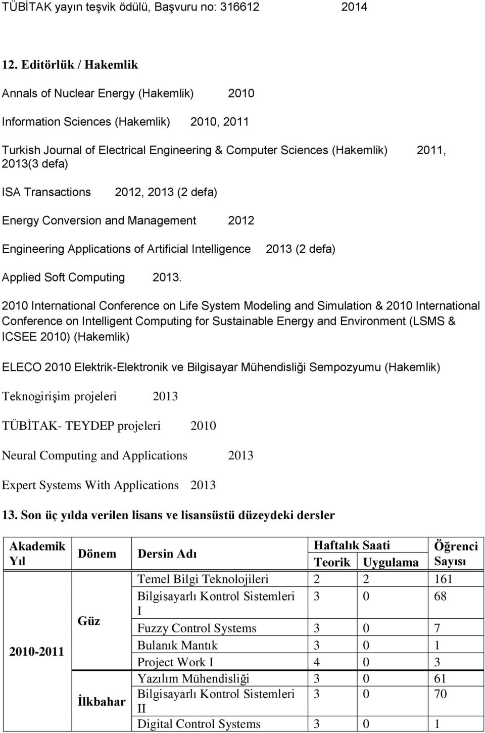 ISA Transactions 2012, 2013 (2 defa) Energy Conversion and Management 2012 Engineering Applications of Artificial Intelligence 2013 (2 defa) Applied Soft Computing 2013.